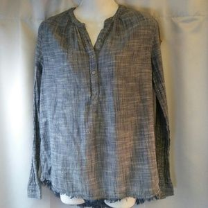 Caslon Boho Blouse with Distressed Hem, S